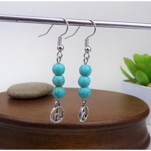Turquoise Beads with Peace Sigh Earrings☮️☮️
